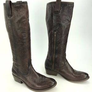 Frye Brown Leather Tall Cowboy Boots Size 6.5